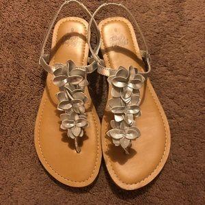 Silver Flower Sandals